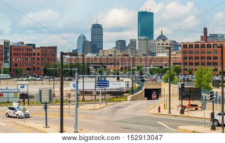 Boston, MA - June 2016, USA: View of Skyscrapers in Boston Back Bay district, Prudential Center, John Hancock Tower from West side drive near Convention and Exhibition center