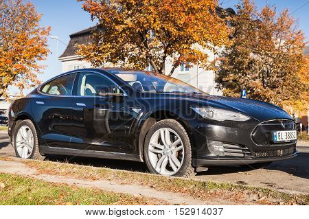 Black Tesla Model S Car