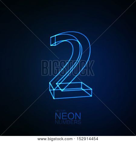 Neon 3D number 2. Typographic element. Part of glow neon alphabet. Digit two. Vector illustration