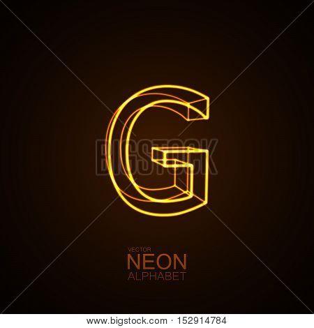 Neon 3D letter G. Typographic vector element for design. Part of glow neon alphabet. Vector illustration