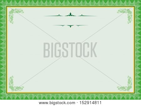 Green Diploma or Certificate Frame - Border a4 size