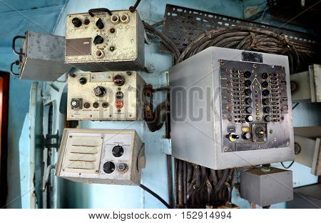 Old Radio On Warship At Museam