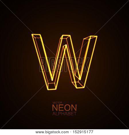 Neon 3D letter W. Typographic vector element for design. Part of glow neon alphabet. Vector illustration