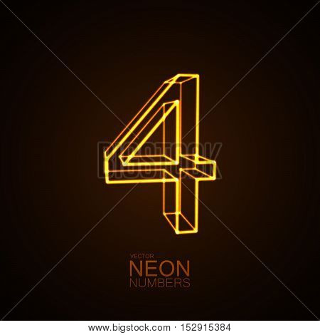 Neon 3D number 4. Typographic vector element for design. Part of glow neon alphabet. Digit four. Vector illustration