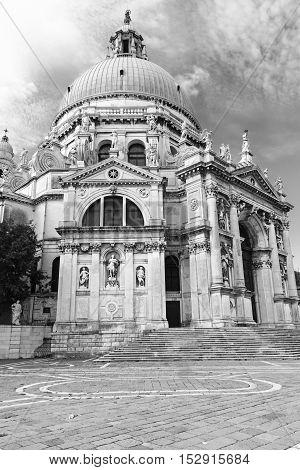 Monochrome photo of the Church Saint Mary of Health (Church Santa Maria della Salute) in Venice (Italy)