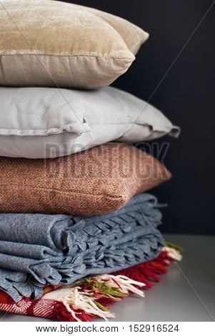 Colorful Pillows Stack On Dark Background
