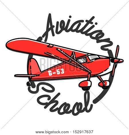 Color vintage Aviation emblem. Abstract vector logo design. Air icon company corporate. Symbol concept