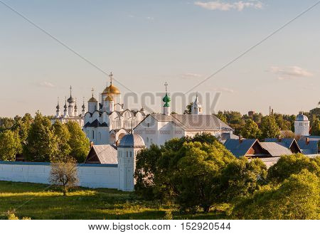 Convent of the Intercession or Pokrovsky monastery in the ancient town of Suzdal Russia. Golden Ring of Russia.