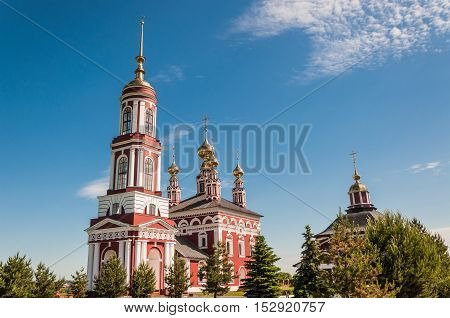 Church of Archangel Michael in Suzdal Russia. It is five-domed russian orthodox church with a bell tower. Built in 1769.
