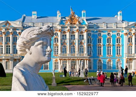 TSARSKOYE SELO, SAINT - PETERSBURG, RUSSIA - OCTOBER 19, 2016: The Catherine Park Sculpture. On the background is the Catherine Palace. The Tsarskoye Selo is State Museum-Preserve