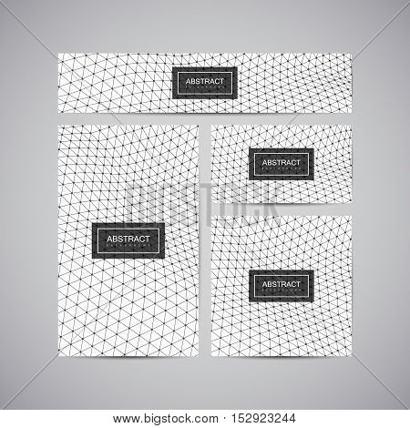 Set of corporate business identity. Stationery design with abstract polygonal triangulated space grid and dots. Vector illustration. Brochure, card, flyer, banner template