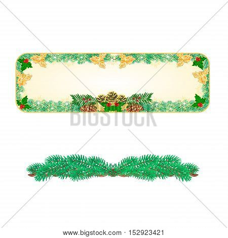Banner Christmas Spruce and pinecones green and gold leaves holly and yew vector illustration