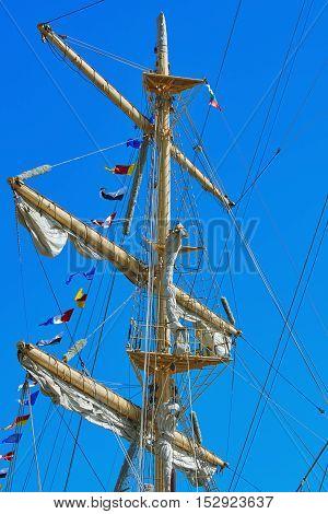 Mast of a Sailing Ship against Blue Sky