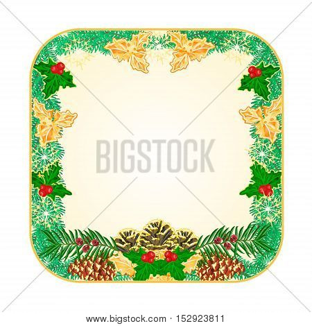Button square Christmas Spruce and pinecones green and gold leaves holly and yew vector illustration
