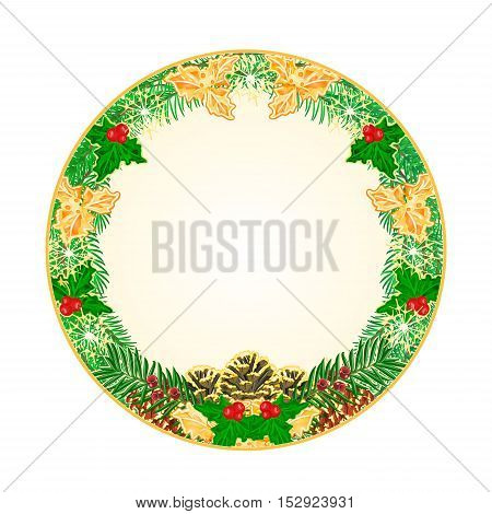 Button circular Christmas Spruce with pinecones green and gold leaves holly and yew vector illustration