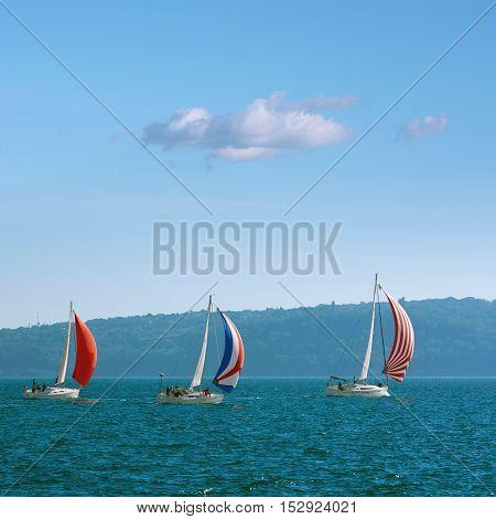 VARNA BULGARIA - September 30 2016: Yacht Regatta Pro-Am Race along the Bulgarian Black Sea Coast