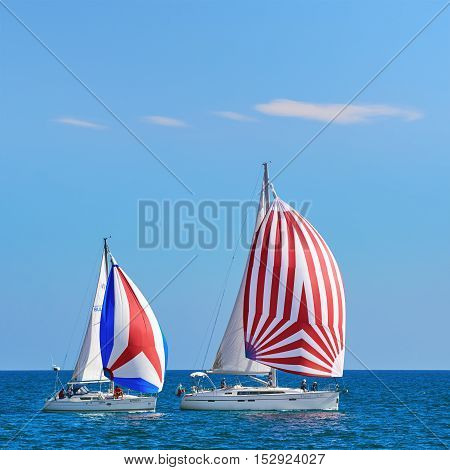 VARNA BULGARIA - September 30 2016: Yacht Regatta Pro-Am Race along the Bulgarian Black Sea Coast