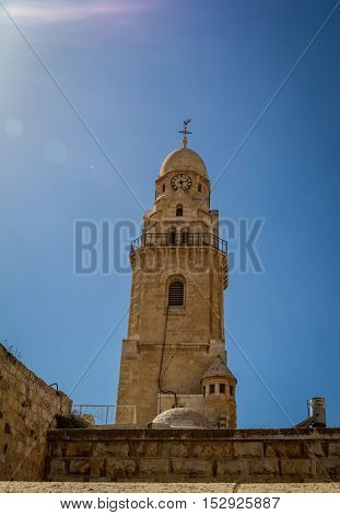 JERUSALEM, ISRAEL - OCTOBER 5: The Bell Tower of Dormition Abbey, outside the walls of the Old City of Jerusalem, Israel on October 5, 2016