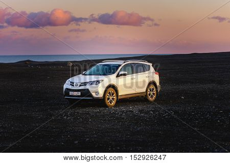 VIK, ICELAND - MAY 08, 2015. Toyota RAV4 four wheel drive SUV for unpaved roads and terrain
