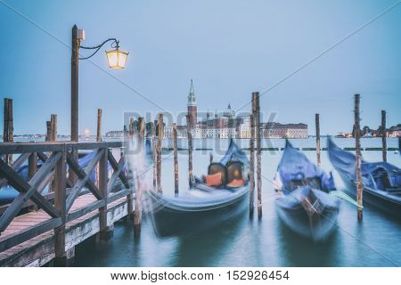 venice gondola on evening time, toned like Instagram filter