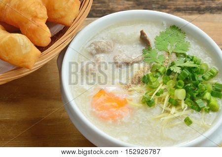 Pork congee with deep fried dough stick.