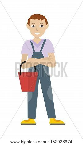 Cleaning service. Male member of the cleaner service staff in uniform with bucket. Worker of cleaning company. Successful cleaning business company. Room caretaker character. Vector illustration