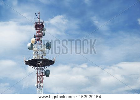 transmitting aerial against a blue sky with white clouds
