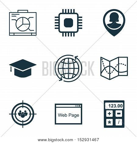 Set Of 9 Universal Editable Icons For Advertising, Education And Seo Topics. Includes Icons Such As
