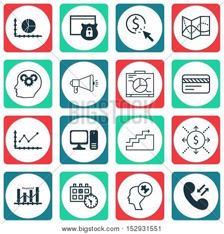 Set Of 16 Universal Editable Icons For Advertising, Transportation And Marketing Topics. Includes Ic
