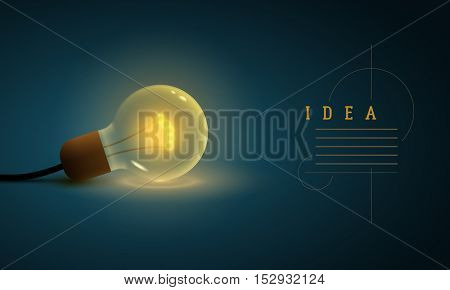 Idea concept design template. Vector illustration of old style light bulb.