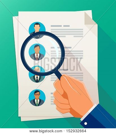 Vector concept of human resources management, professional staff research, head hunter job with magnifying glass. Human resources illustration in flat style