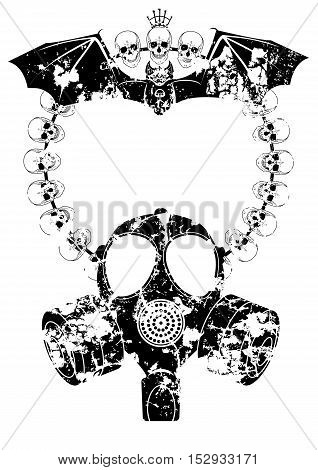vector horror frame with gas mask skull and bat