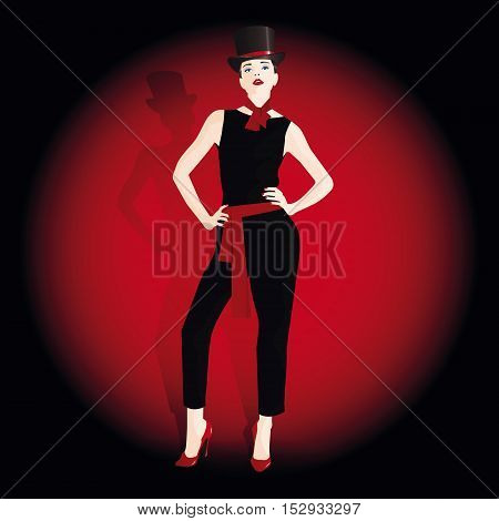 The girl in style of cabaret.Vector illustration