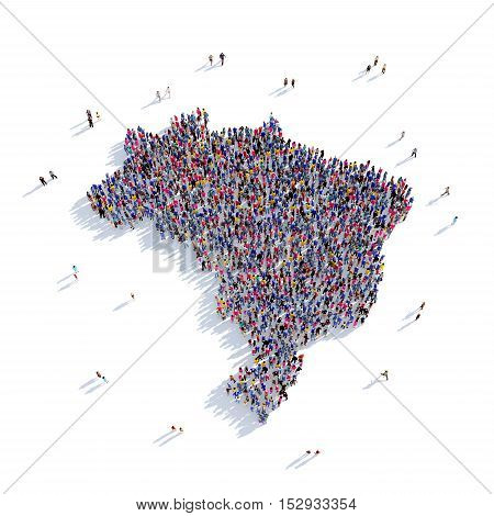 Large and creative group of people gathered together in the form of a map Brazil, a map of the world. 3D illustration, isolated against a white background. 3D-rendering.