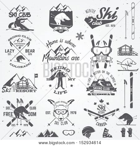 Ski club design. Vector illustration. Vector ski club retro badge. Concept for shirt, print, seal or stamp. Ski club typography design- stock vector. Family vacation, activity or travel.