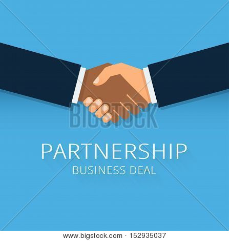 Blue handshake illustration. Partners icon. Handshake icon. Success deal. Shaking hands. Background for business and finance. poster