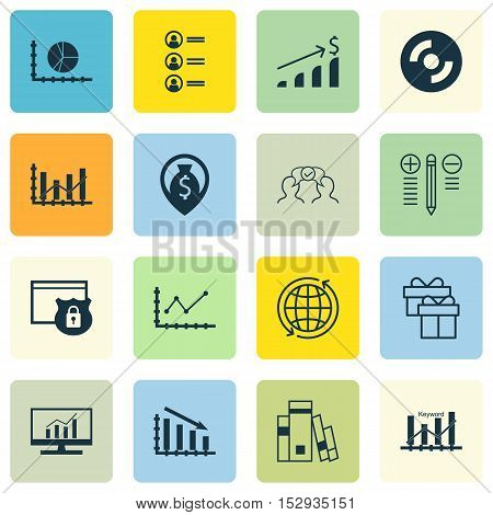 Set Of 16 Universal Editable Icons For Statistics, School And Human Resources Topics. Includes Icons