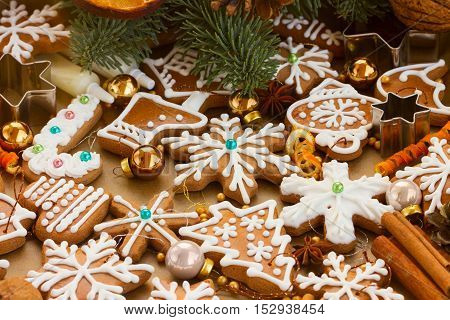 christmas gingerbread cookies with fir tree - christmas traditional food
