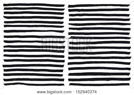 Black highlight stripes, brush strokes drawn with markers. Stylish highlight elements for design. Vector banners marker strokes black color