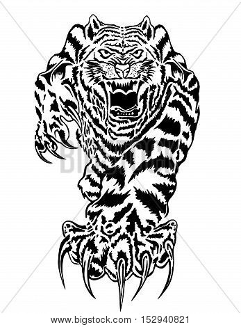 Hand drawing of a tiger facing forward