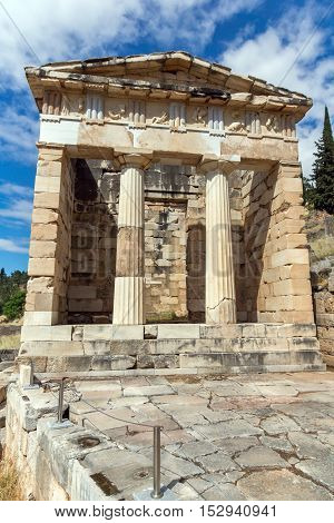 Treasury of Athens in Ancient Greek archaeological site of Delphi,Central Greece