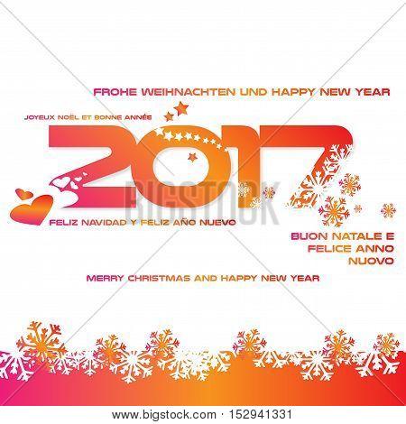 Sfondo 2017 con auguri in diverse lingue
