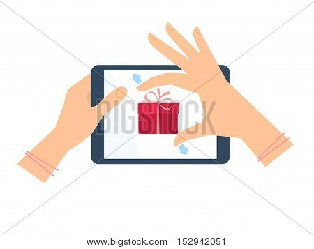 Female hand with tablet pc is stretching gift box on the screen. Vector flat illustration of woman's hands portable pad with christmas new year birthday present. Vector celebration concept design.