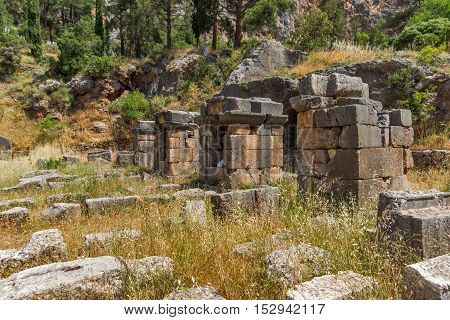 Entrance of Ancient Greek archaeological site of Delphi,Central Greece