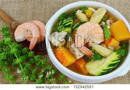 Thai Spicy Mixed Vegetable Soup with Prawns ( Thai name is Kang Liang Goong Sod )