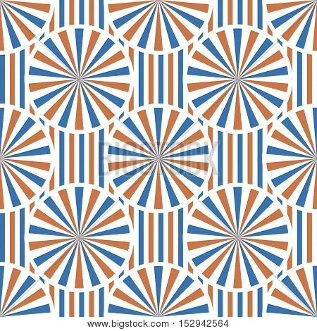 Abstract vector circles seamless pattern with stripes