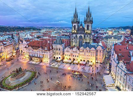 Buildings on the Old Town square (Staromestske Namesti) in the evening Prague Czech Republic