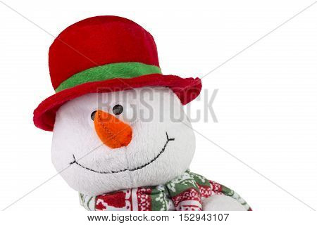 Happy Christmas snowman isolated on white background.