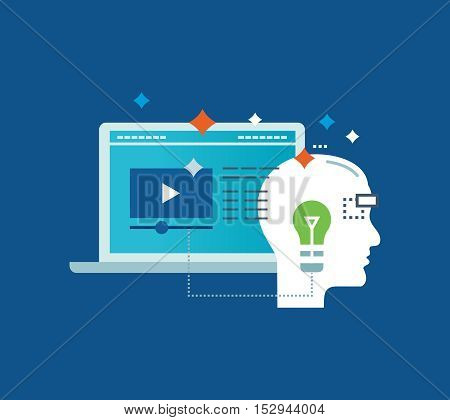Concept of illustration - education and distance learning, video communication, motivation, commitment, success and leadership. Vector illustration for website, banner, printed materials, mobile app.