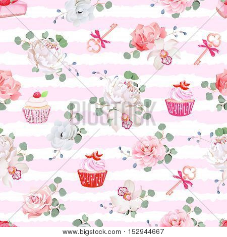 Pink striped seamless vector pattern with fresh pastries bouquets of flowers and keys with red bows. Peony orchid rose camellia cupcakes strawberry cheesecake.